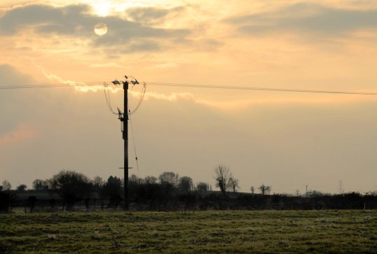 low sun with telegraph pole
