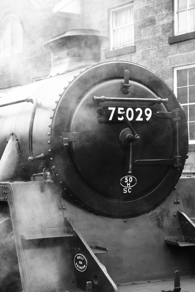 Engine 75029, The Green Knight, in the station. North Yorkshire Moors Railway, UK