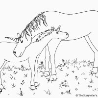 Unicorns Colouring Picture