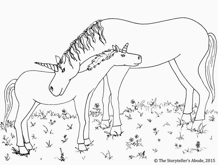 unicorns colouring picture