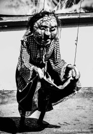 freaky puppet black and white
