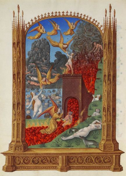 Image of a fiery purgatory in the Très Riches Heures du Duc de Berry - created 1412-16