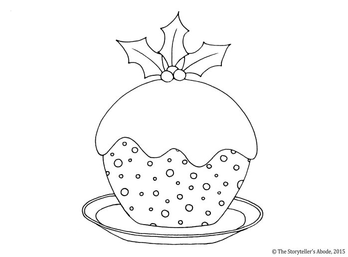 christmas pudding colouring picture