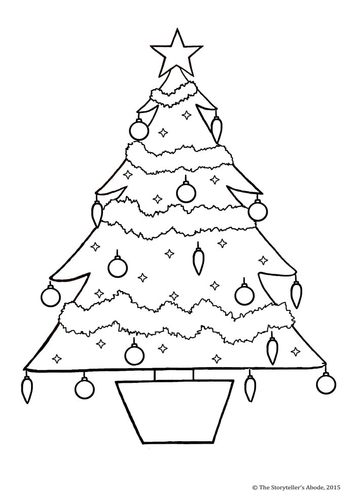 christmas tree colouring picture