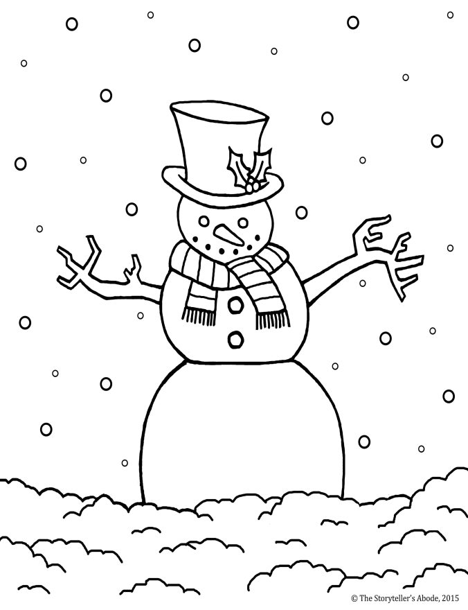 snowman colouring picture