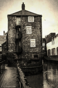 Riverside building with spiral staircase