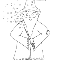 Old Wizard Woo Colouring Picture