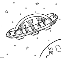 Flying Saucer Colouring Picture