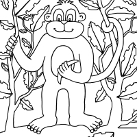 Monkey Colouring Picture