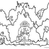 Space Explorer Colouring Picture